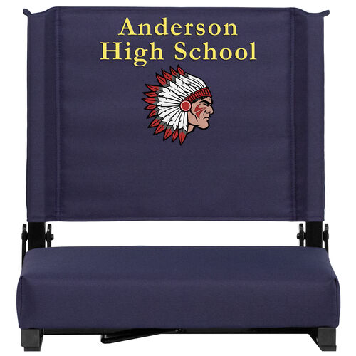 Our Embroidered Grandstand Comfort Seats by Flash with Ultra-Padded Seat in Navy is on sale now.
