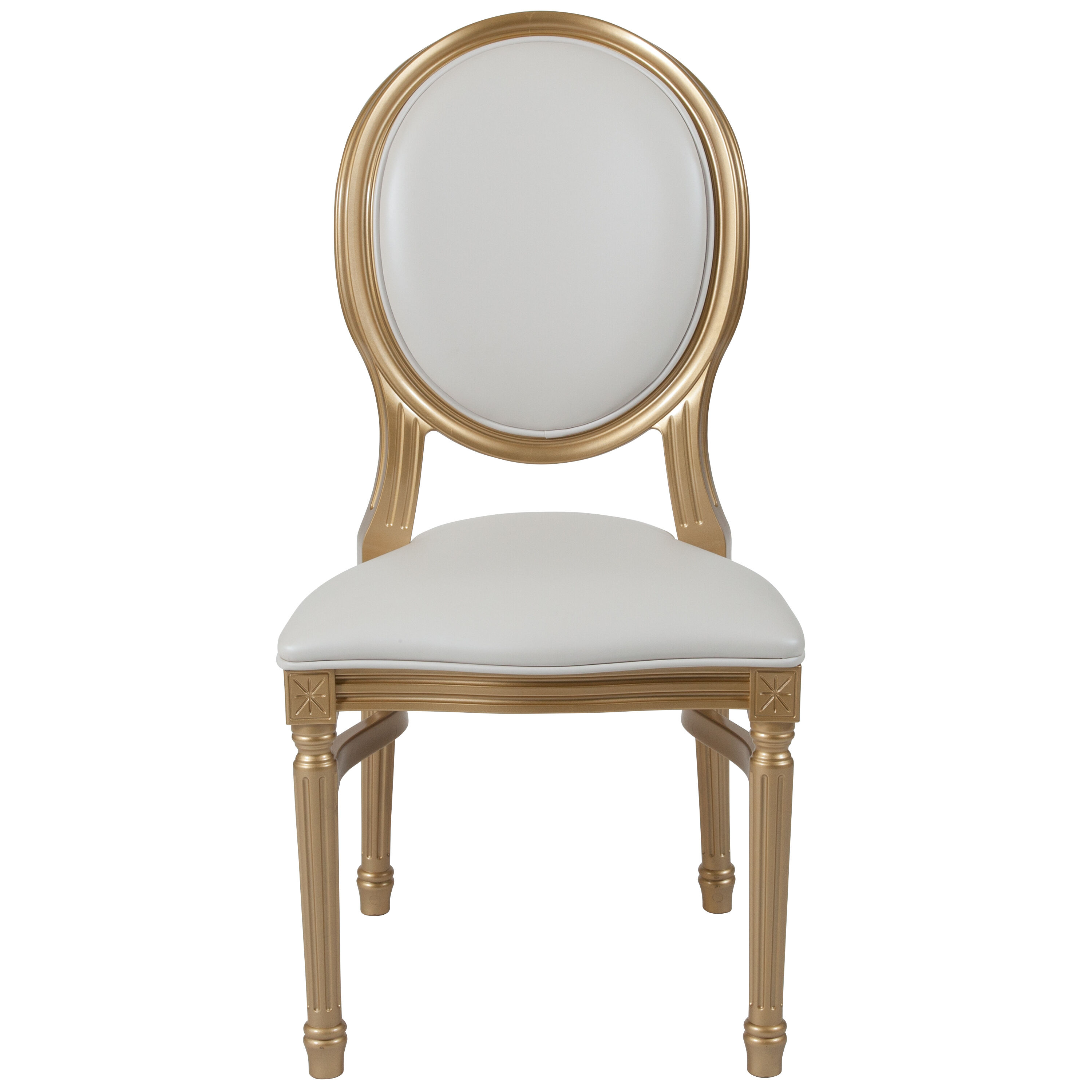 Superbe Capacity King Louis Chair With White Vinyl Back And Seat