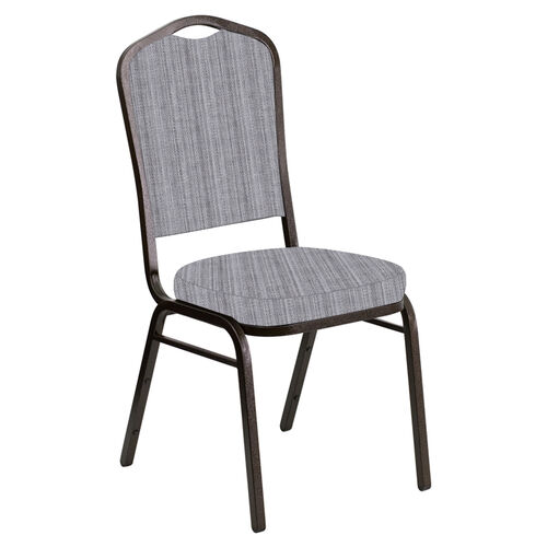 Our Embroidered Crown Back Banquet Chair in Sammie Joe Aluminum Fabric - Gold Vein Frame is on sale now.