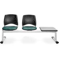 Stars 3-Beam Seating with 2 Teal Vinyl Seats and 1 Table - Gray Nebula Finish