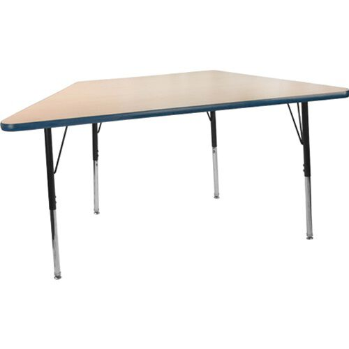 Advantage 30 in. x 60 in. Trapezoidal Adjustable Activity Table - Maple/Navy