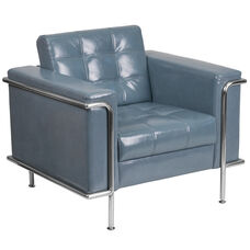 HERCULES Lesley Series Contemporary Gray Leather Chair with Encasing Frame