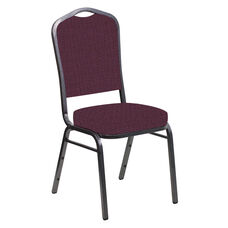 Embroidered Crown Back Banquet Chair in Interweave Amethyst Fabric - Silver Vein Frame