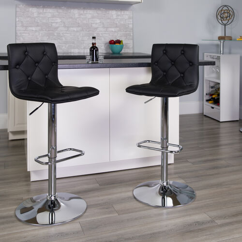 Our Contemporary Button Tufted Vinyl Adjustable Height Barstool with Chrome Base is on sale now.