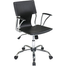 Ave Six Dorado Contour Seat and Back Vinyl Office Chair with Heavy Duty Chrome Base - Black
