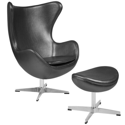 Wondrous Gray Leather Egg Chair With Tilt Lock Mechanism And Ottoman Beutiful Home Inspiration Xortanetmahrainfo