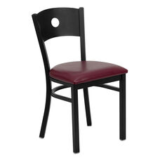 Black Circle Back Metal Restaurant Chair with Burgundy Vinyl Seat