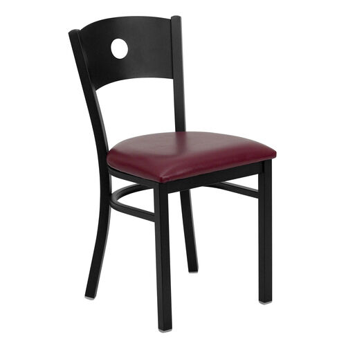 Our Black Circle Back Metal Restaurant Chair with Burgundy Vinyl Seat is on sale now.