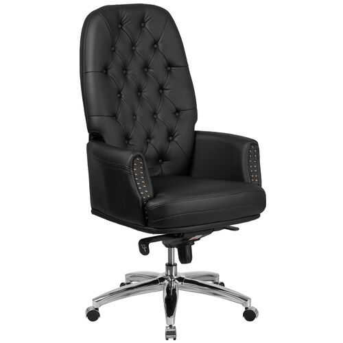 High Back Traditional Tufted LeatherSoft Multifunction Executive Swivel Ergonomic Office Chair with Arms
