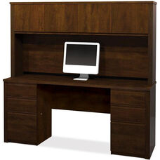 Prestige + Credenza and Hutch Set with Modesty Panel and Wire Management - Chocolate