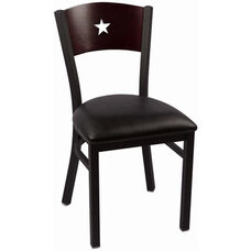 Liberty Series Wood Back Armless Chair with Steel Frame and Vinyl Seat - Mahogany