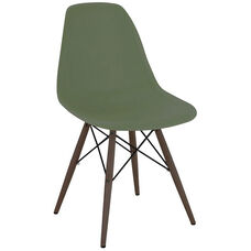 Trige Mid Century Mountain Forest Armless Side Chair with Walnut Wood Base - Set of 2