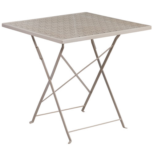 """Our Commercial Grade 28"""" Square Light Gray Indoor-Outdoor Steel Folding Patio Table is on sale now."""