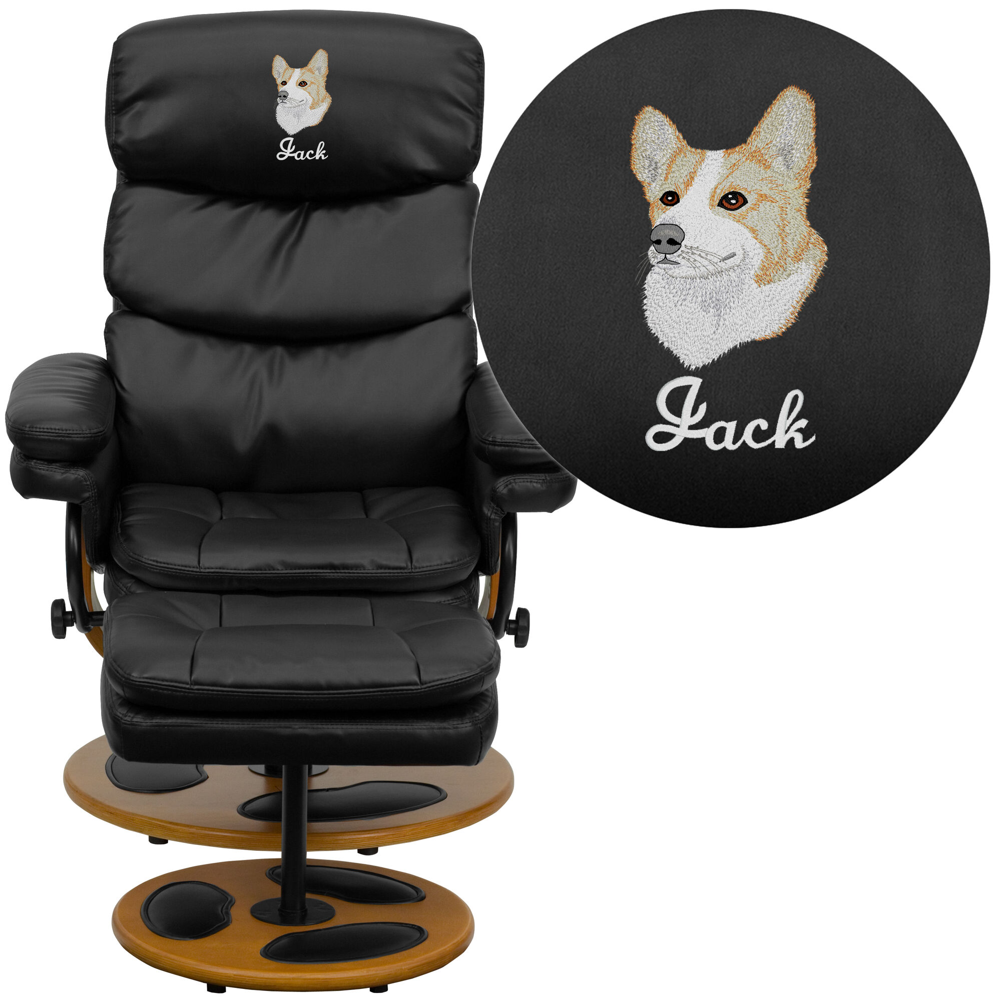 Embroidered Contemporary Black Leather Recliner And