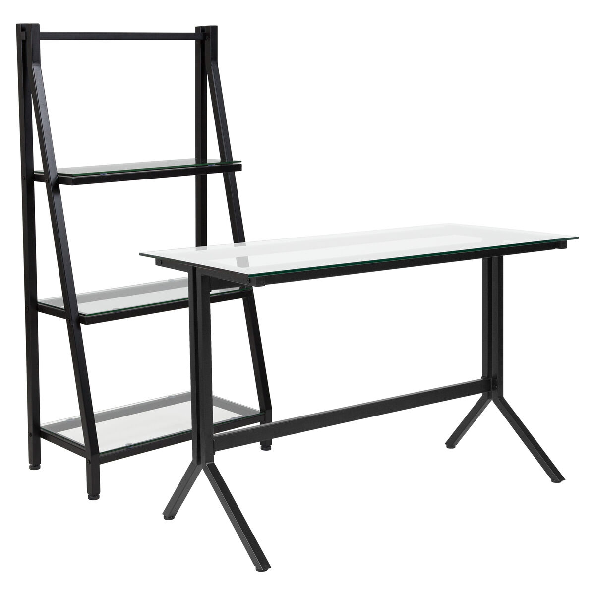 Our Highland Collection Glass Computer Desk And Bookshelf With Black Metal Frame Is On Sale Now