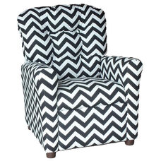 Kids Recliner with Button Tufted Back - Zig Zag Black