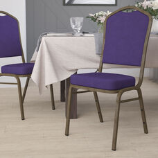 HERCULES Series Crown Back Stacking Banquet Chair in Purple Fabric - Gold Vein Frame