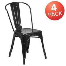 Commercial Grade 4 Pack Black Metal Indoor-Outdoor Stackable Chair