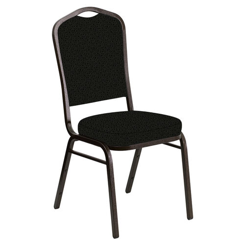 Embroidered Crown Back Banquet Chair in Mirage Pewter Fabric - Gold Vein Frame