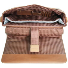Laptop Messenger Bag - Genuine Leather - Tan