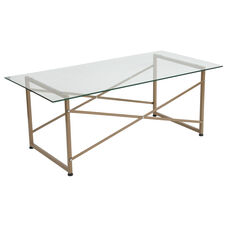 Mar Vista Collection Glass Coffee Table with Matte Gold Frame