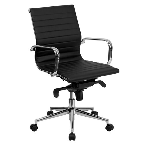 Our Mid-Back Ribbed LeatherSoft Swivel Conference Office Chair with Knee-Tilt Control and Arms is on sale now.