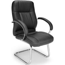 Stimulus Leatherette Executive Mid-Back Guest Chair - Black