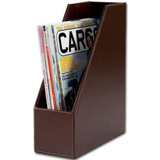 Bonded Leather Magazine Rack - Dark Brown