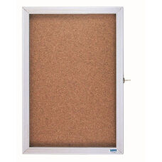 1 Door Enclosed Bulletin Board with Aluminum Over Lapping Hinged Door - 36''H x 24''W