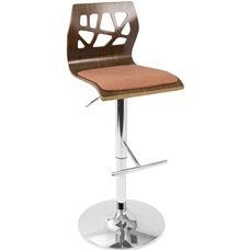 Folia Mid-Century Modern Height Adjustable Swivel Barstool with Walnut Accents - Orange