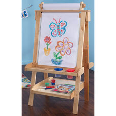 Kids Deluxe Double Sided Wood Art Easel with Paper Roll Dispenser and Chalkboard - Natural