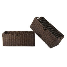 Granville 2-Pc Large Foldable Corn Husk Baskets in Chocolate