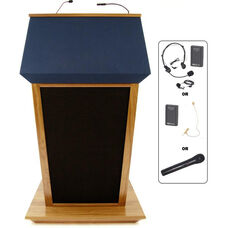 Patriot Plus Wireless 50 Watt Sound and Hand Held Mic Lectern - Oak Finish - 31