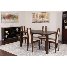 Harlesden 5 Piece Espresso Wood Dining Table Set with Curved Slat Wood Dining Chairs - Padded Seats