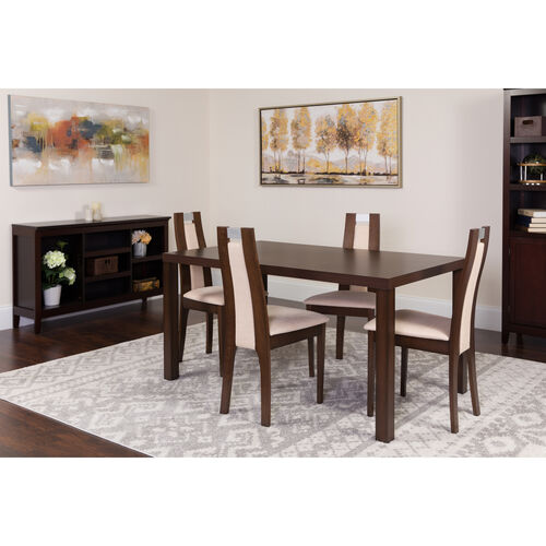 Our Harlesden 5 Piece Espresso Wood Dining Table Set with Curved Slat Wood Dining Chairs - Padded Seats is on sale now.