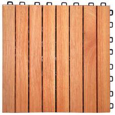 Outdoor Patio 8-Slat Eucalyptus Interlocking Deck Tile - Set of 10