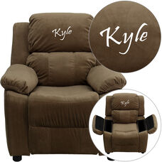 Personalized Deluxe Padded Brown Microfiber Kids Recliner with Storage Arms