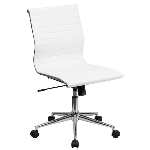 Our Mid-Back Armless White Ribbed LeatherSoft Swivel Conference Office Chair is on sale now.