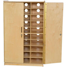 Wooden Locking Tablet Charging Storage Unit - 30