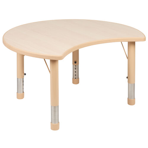 "Our 25.125""W x 35.5""L Crescent Natural Plastic Height Adjustable Activity Table is on sale now."