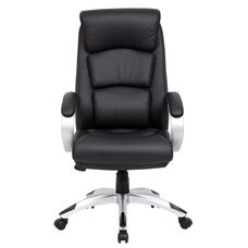 Modern LeatherPLUS Executive Chair with Padded Arms - Black