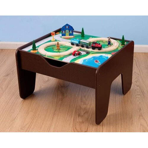 2 in 1 Activity Table for Trains and LEGO® Double Sided Play Board - Espresso