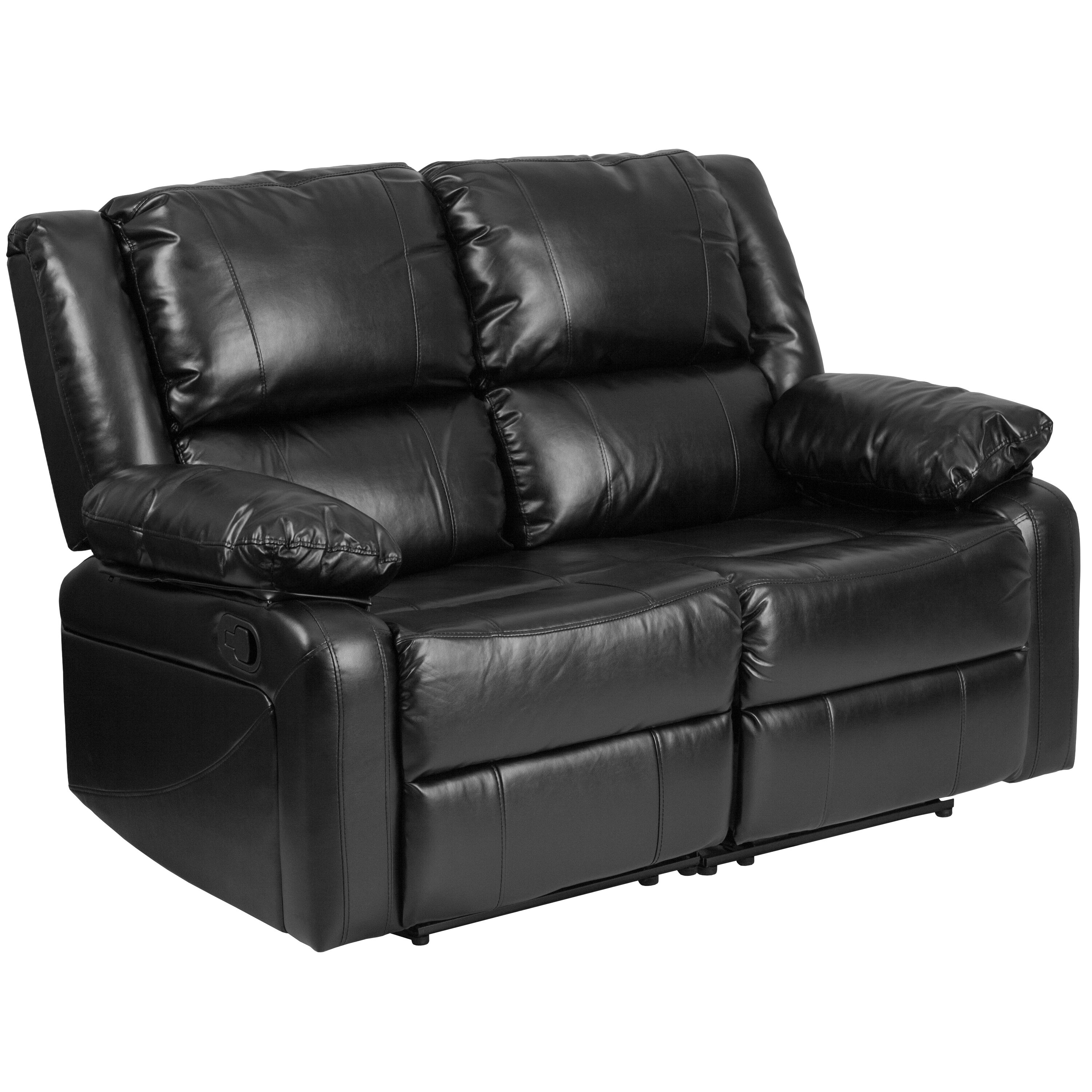 harmony series black leather loveseat with two builtin recliners