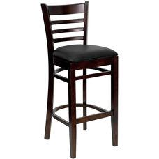 Walnut Finished Ladder Back Wooden Restaurant Barstool with Black Vinyl Seat