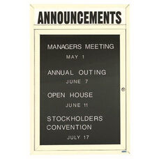 1 Door Outdoor Enclosed Directory Board with Header and Ivory Anodized Aluminum Frame - 24