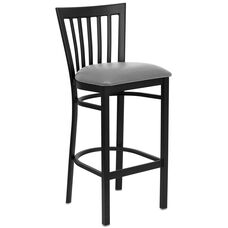 Black School House Back Metal Restaurant Barstool with Custom Upholstered Seat