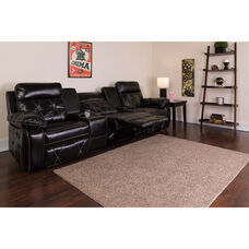 Reel Comfort Series 3-Seat Reclining Black LeatherSoft Theater Seating Unit with Straight Cup Holders