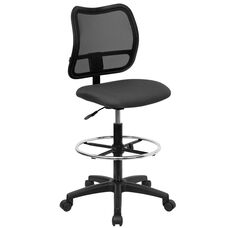 Mid-Back Gray Mesh Drafting Chair