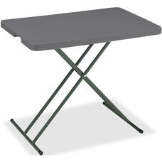 IndestrucTABLE TOO Rectangular Adjustable Height Personal Folding Table - Charcoal