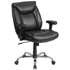 HERCULES Series Big & Tall 400 lb. Rated Black Leather Deep Tufted Ergonomic Task Office Chair with Adjustable Arms